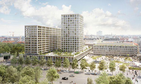 Das Rendering zeigt die Planung für die Neugestaltung des Wiener Heumarkt-Areals / Bild: APA/ISAY WEINFELD&SEBASTIAN MURR