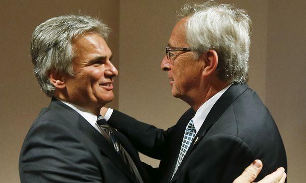 Die Chemie stimmt, doch wo bleiben die Ideen? Bundeskanzler Faymann und der designierte EU-Kommissionspräsident Juncker. / Bild: (c) APA/BKA/ANDY WENZEL (BKA/ANDY WENZEL)