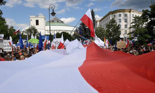 Die geplante Justizreform stößt nicht nur in Polen sondern auch im Ausland auf Kritik. / Bild: APA/AFP/JANEK SKARZYNSKI