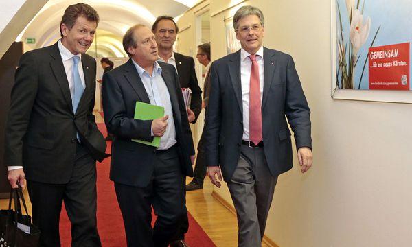 Wolfgang Waldner (ÖVP), Rolf Holub (Grüne) und Peter Kaiser (SPÖ) / Bild: (c) APA/GERT EGGENBERGER (GERT EGGENBERGER)