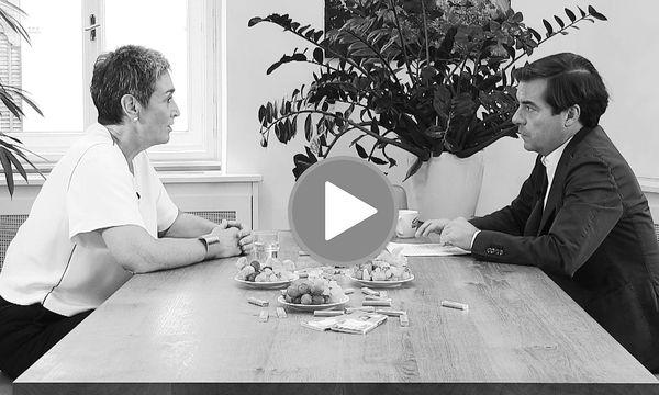 """""""Presse"""" Chefredakteur im Video-Interview mit Grünen-Spitzenkandidatin Ulrike Lunacek / Bild: Shervin Sardari"""