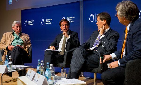 Hannes Androsch, Rainer Nowak, Markus Rodlauer und Jörg Wuttke (v.l.). /