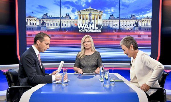 Lunacek und Kern beim ORF-TV-Duell. / Bild: APA/HERBERT NEUBAUER