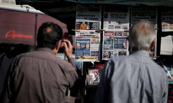 Ein Blick auf griechische Zeitungskioske. / Bild: REUTERS