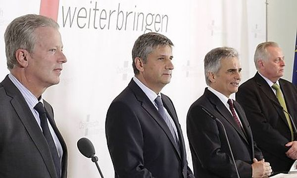 Mitterlehner, Spindelegger, Faymann und Hundstorfer / Bild: (c) REUTERS (Herwig Prammer)