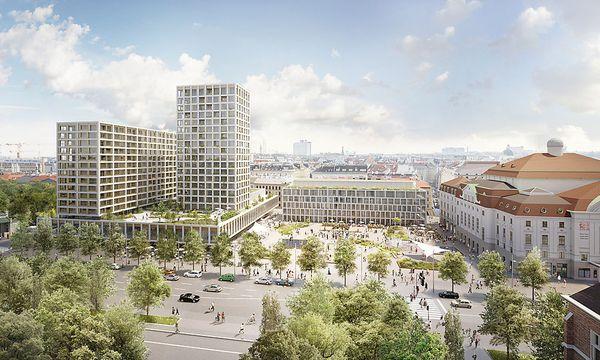 Hinter dem neuen Hotelbau soll ein 66 Meter hoher Wohnturm entstehen. Die Unesco hatte gedroht, Wien deswegen das Welterbe abzuerkennen.   / Bild: Wertinvest