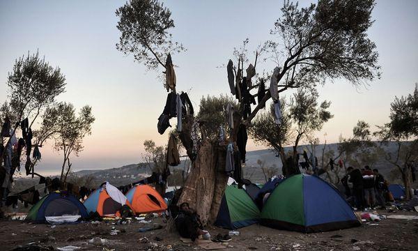 Außerhalb des Registrierungszentrums in Moria auf der Insel Lesbos hausen die Flüchtlinge in Zelten. Das Flüchtlingslager selbst ist überlastet. / Bild: APA/AFP/ARIS MESSINIS