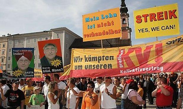 DEMONSTRATION DER DRUCKER-GEWERKSCHAFT am 8. Mai in Salzburg