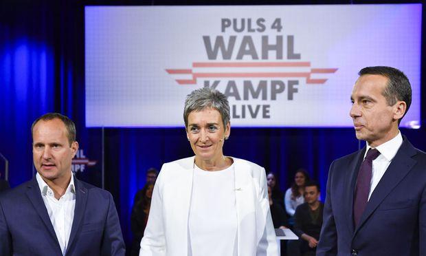 Kanzler Kern lieferte sich TV-Duelle mit Ulrike Lunacek und Matthias Strolz