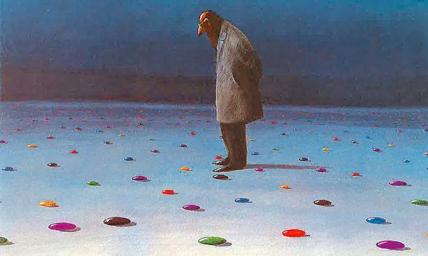 """""""Verlassene Standpunkte"""", Illustration von Gerhard Glück."""