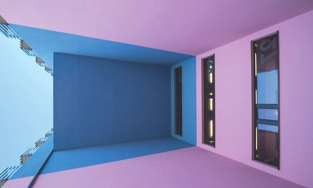 Wandfarbe. Selten zeigt sich Architektur so offensiv farbig.