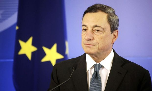 European Central Bank President Draghi speaks during the Euro Star handover ceremony in Vilnius