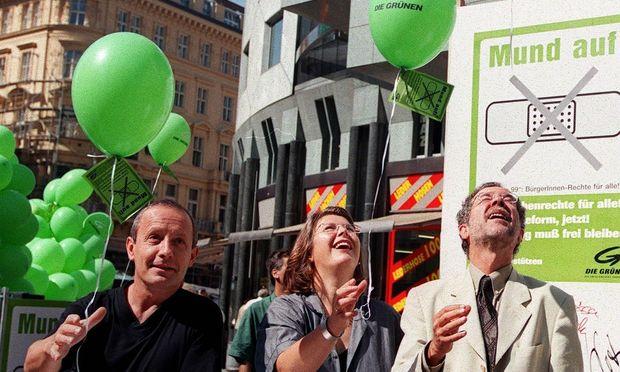 Als die Grünen noch abhoben: Peter Pilz, Terezija Stoisits, Alexander Van der Bellen 1999.