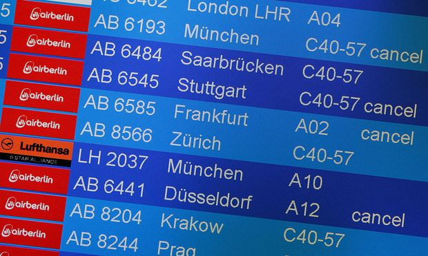 Board shows canceled Air Berlin flights at Tegel airport in Berlin