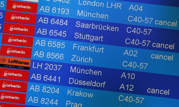 Board shows canceled Air Berlin flights at Tegel airport in Berlin
