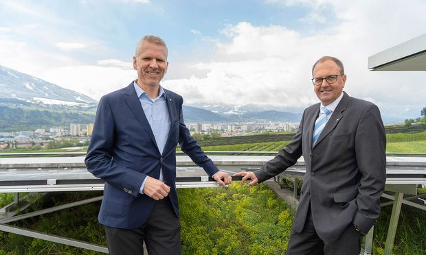 ILF-Group-CEO Klaus Lässer und ILF-Austria-Geschäftsführer Alexander Speckle (r.) am Headquarter in Rum.