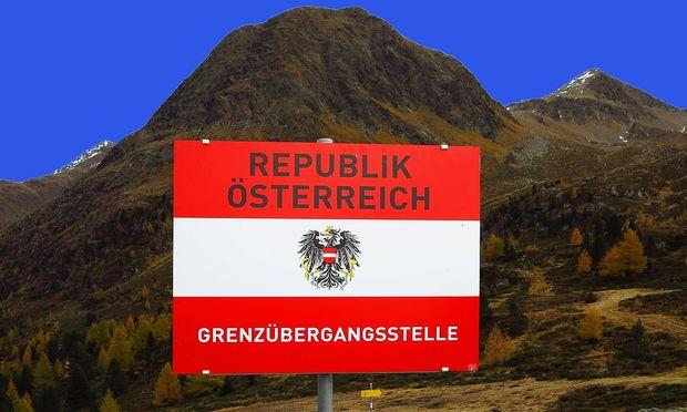 Grenzübergang zwischen Südtirol und Österreich.