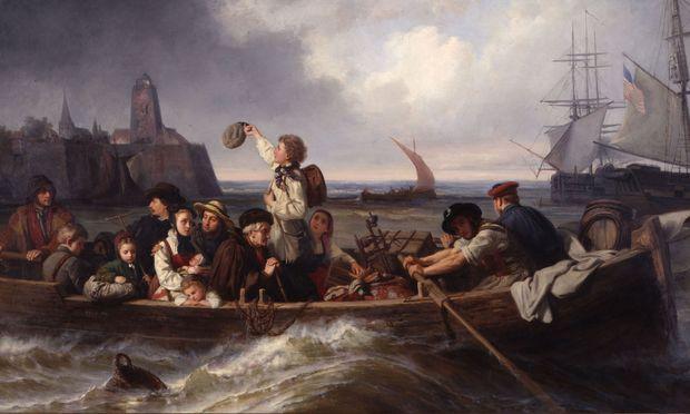 """Meeresgewalt und Migration einst: Antonie Volkmar, """"Abschied der Auswanderer"""", 1860."""