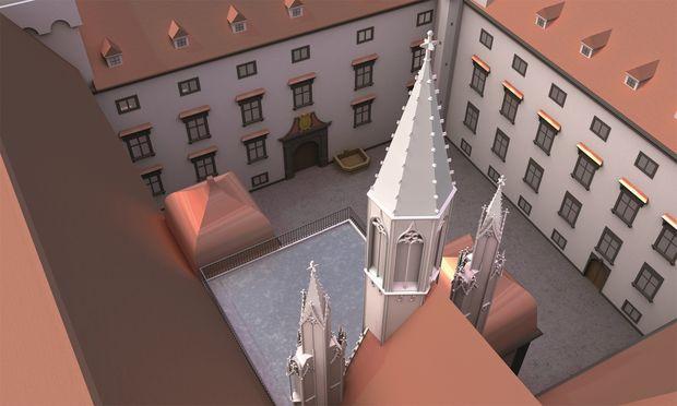 Historische Ansicht im 3-D-Modell: Blick von der Hofburgkapelle in den Schweizerhof anno 1564.