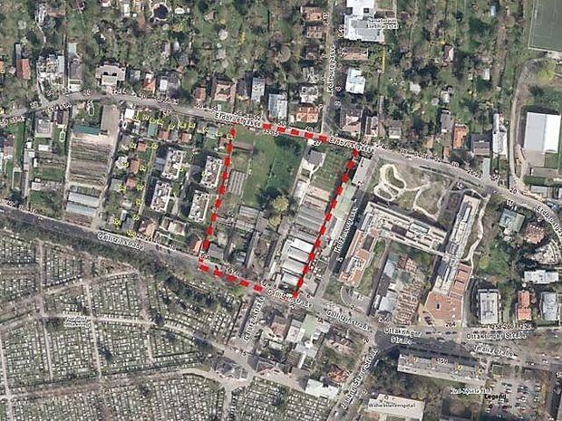 Luftbild: Die bis zur Erdbrustgasse reichenden Liegenschaften Gallitzinstraße 8-16 liegen im Nahbereich des Ottakringer Friedhofs. Sie wurden bisher durch Gärtnereien genutzt.