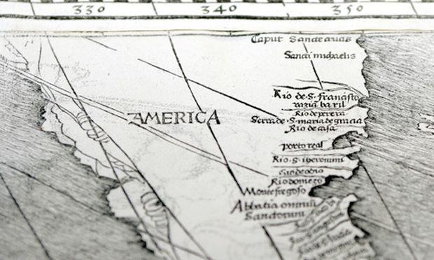 Archivbild: Ausschnitt aus Waldmüllers großer Weltkarte