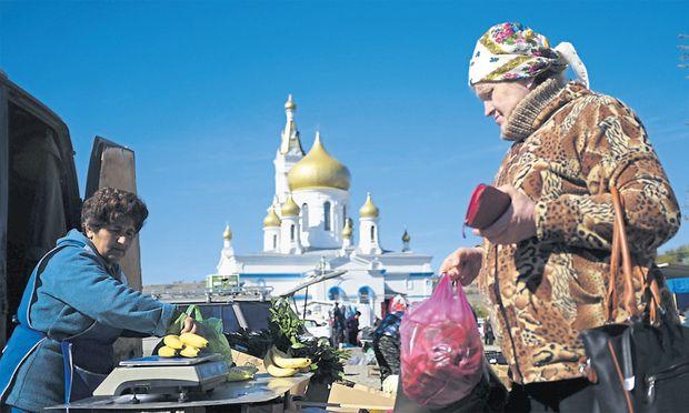 Ein Markt in Russland: Einheimische Lebensmittel haben oft eine schlechtere Qualität als die boykottierten aus Europa.