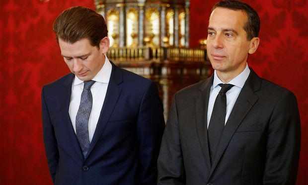 Austria´s Foreign Minister Kurz and Chancellor Kern attend the new Vice Chancellor´s and new Economics Minister´s inauguration ceremony in Vienna