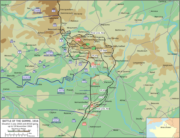 Zoom: Das Kampfgebiet an der Somme