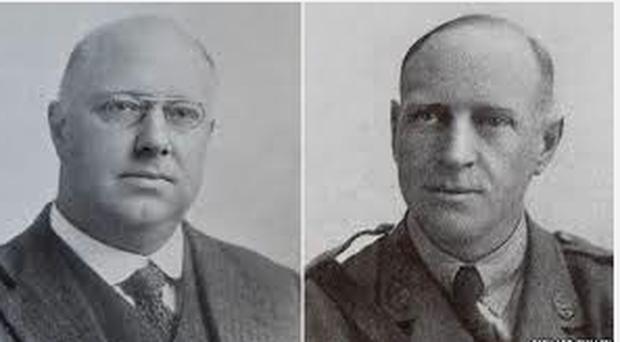 William Tritton (li.), Direktor des Landmaschinenherstellers Foster in Lincoln, und Walter Wilson, Chefkonstrukteur des ersten Panzers