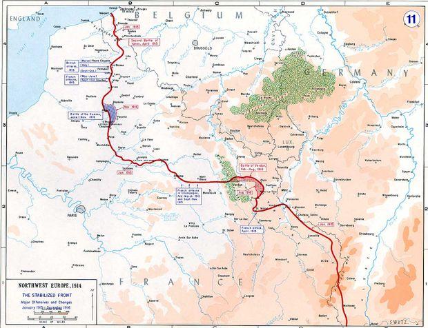 Westfront inklusive Kampfgebiet der Schlacht an der Somme, Juli bis November 1916, links oben in Blau