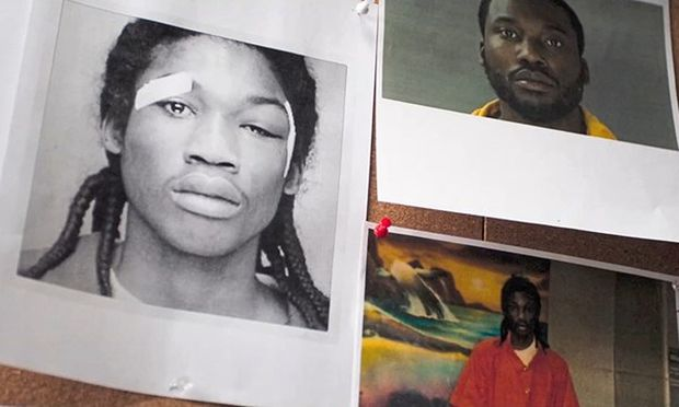 Das Foto links zeigt Rapper Meek Mill als 18-Jährigen nach seiner Verhaftung durch die Polizei.