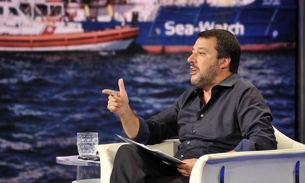 Salvini bei einem Auftritt im italienischen Fernsehen.