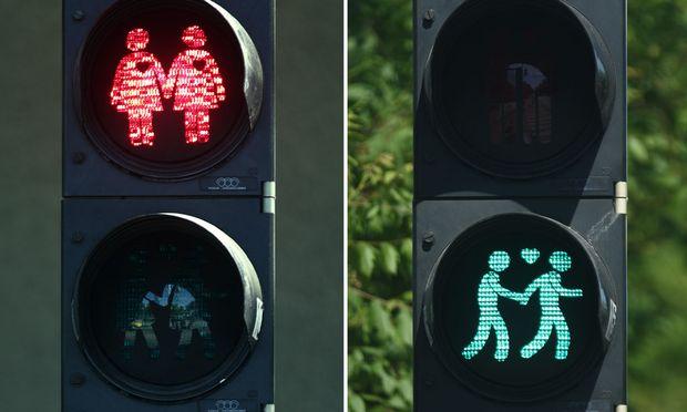 Ampelpärchen in Wien, in Linz nicht länger toleriert.