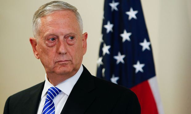 U.S. Defence Minister James N. Mattis is seen during a press conference before the commemoration of the 70th anniversary of the Marshall Plan at the George C. Marshall Center in Garmisch-Partenkirchen