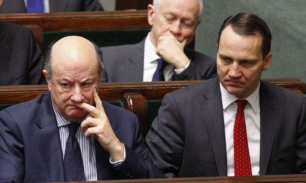 Zwei Belauschte (Archivbild): Ex-Finanzminister Jacek Rostowski und der aktuelle Außenminister Polens Radoslaw Sikorski.