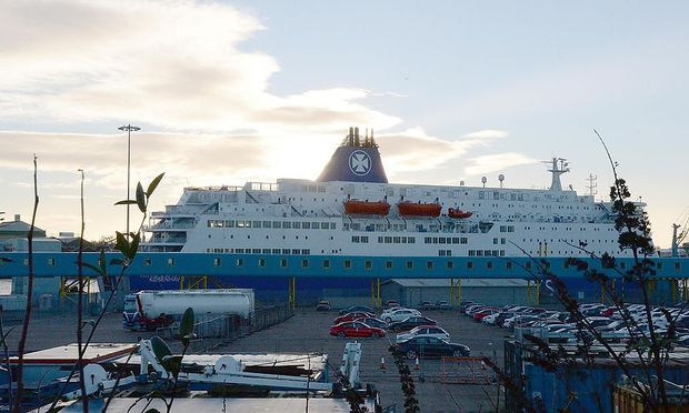 The MS King Seaways ferry is seen moored at the International Passenger Terminal in Newcastle, northern England