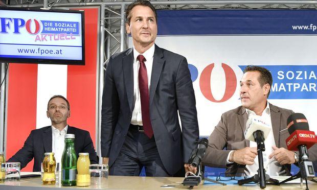 FPÖ-Generalsekretär Herbert Kickl, Robert Lugar und FPÖ-Chef Heinz-Christian Strache