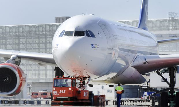 SAS Airbus 330-300 aircraft is prepared for a flight to the U.S. at the Stockholm-Arlanda Airport in Sweden
