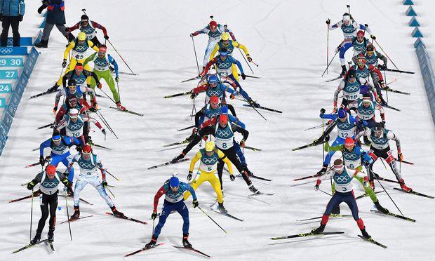 Biathlon-Athleten bei den Olympischen Spielen in Pyeongchang