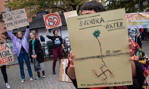 Die Wahlkampfauftritte der Schwedendemokraten lösen auch regelmäßig Proteste aus.