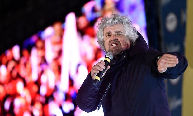 Rome Piazza del Popolo Election campaign of the 5 Star Movement Pictured Beppe Grillo PUBLICATION