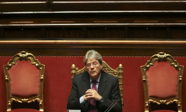 Italy's Foreign Minister Paolo Gentiloni attends a Senate meeting in Rome