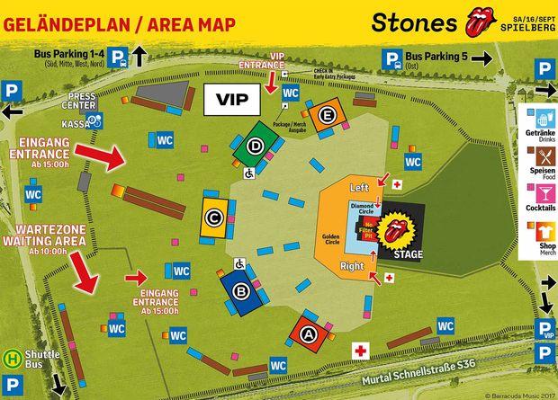Geländeplan für das Stones-Konzert in Spielberg