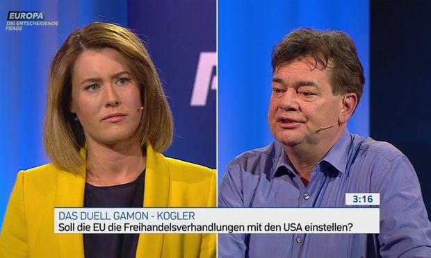 Claudia Gamon, rhetorisch den erfahrenen Politikern nicht unterlegen, warb in ihrem Duell gegen Werner Kogler für den Freihandel, um europäische Standards in die Welt zu exportieren. Der Grüne Kandidat trat auch für fairen Handel ein, wandte sich aber gegen Privilegien für Konzerne.
