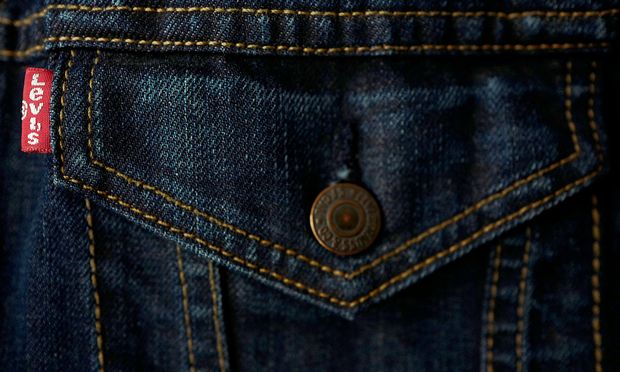 FILE PHOTO: The label of a Levi's denim jacket of U.S. company Levi Strauss is seen at a denim store in Frankfurt