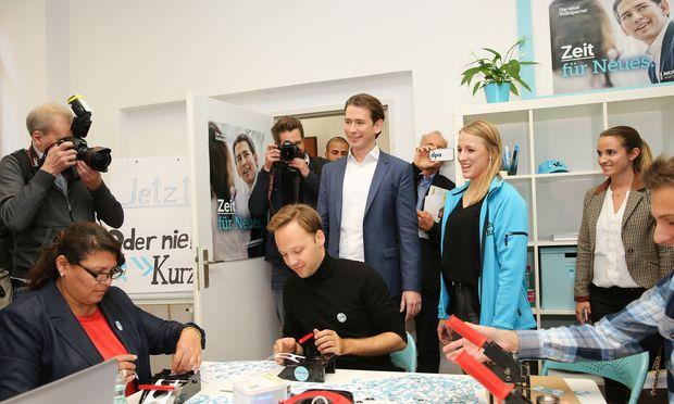 Sebastian Kurz auf Besuch bei Wahlkampfhelfern in Wien: Die ÖVP will am Ende des Wahlkampfs mobilisieren, um als Erste durchs Ziel zu gehen
