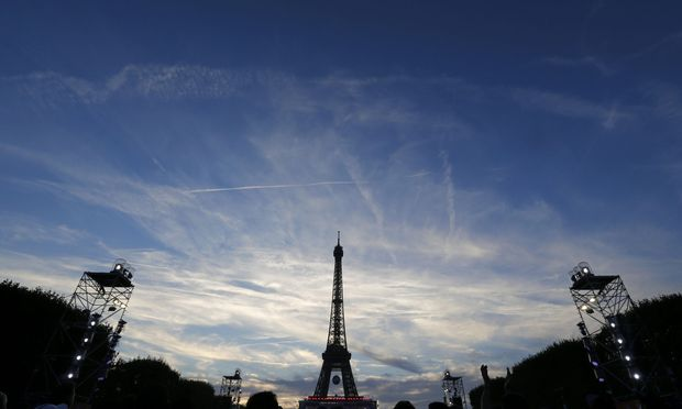 Eiffel Tower seen in fan zone during a EURO 2016 semi final soccer match