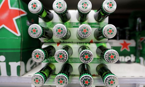 FILE PHOTO:Packs of Heineken beer are displayed for sale in a Casino supermarket in Nice