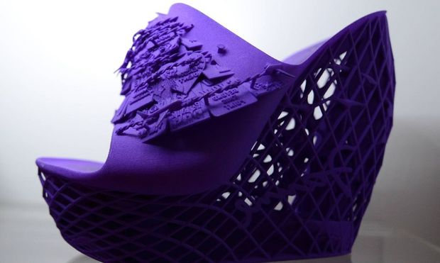A shoe printed on a Cube 3D printer by 3D Systems is on display at the 2014 International CES a tra