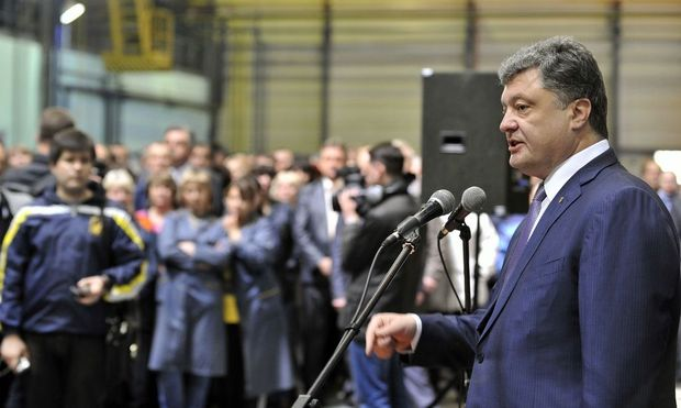 Ukranian businessman, politician and presidential candidate Petro Poroschenko visits Kryukov Railway Car Building Works in Kremenchuk in Poltava Region